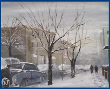 Are Street In Winter  Print by Richard Finnell
