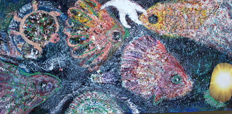 Fish Mixed Media - Are The Blues Running by Anne-Elizabeth Whiteway