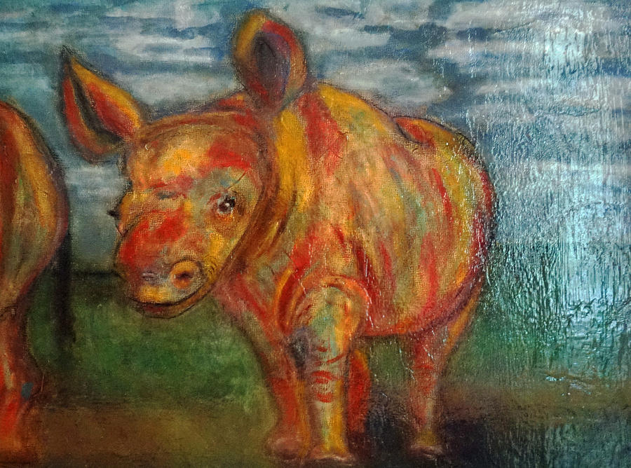 Rhino Painting - Are We There Yet? by Gina Sismilich