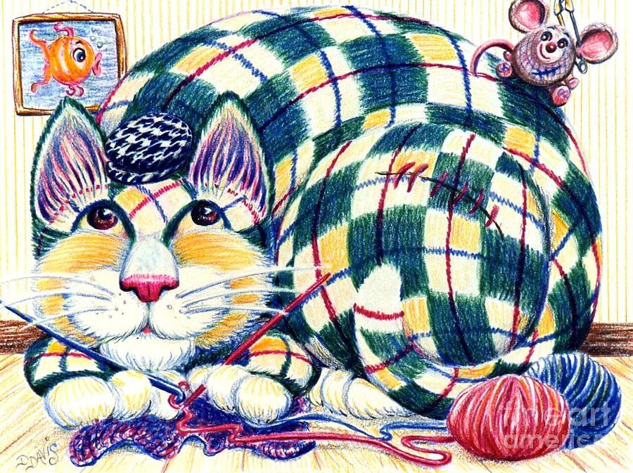 Cat Drawing - Argyle by Dee Davis