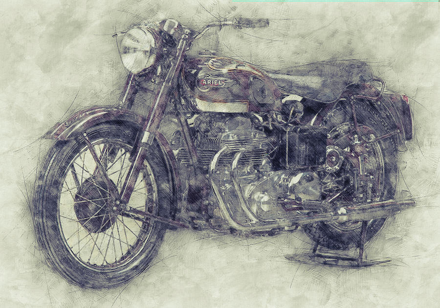 Ariel Square Four Mixed Media - Ariel Square Four 1 - 1931 - Vintage Motorcycle Poster - Automotive Art by Studio Grafiikka