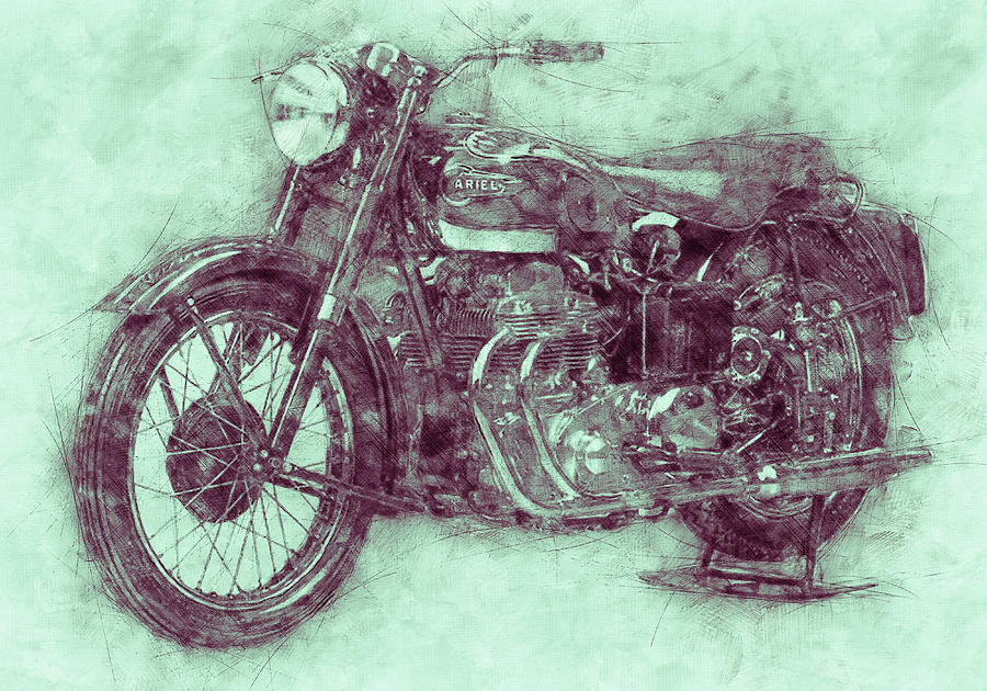Ariel Square Four Mixed Media - Ariel Square Four 3 - 1931 - Vintage Motorcycle Poster - Automotive Art by Studio Grafiikka