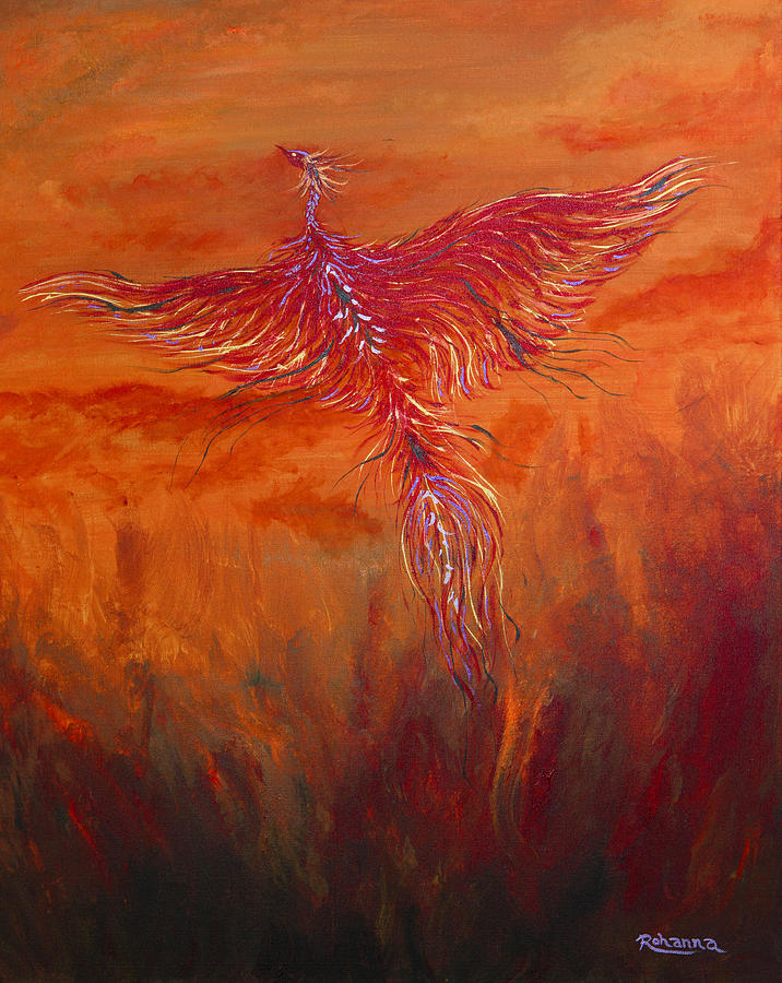 Phoenix Painting - Arising From The Depths by Judy M Watts-Rohanna