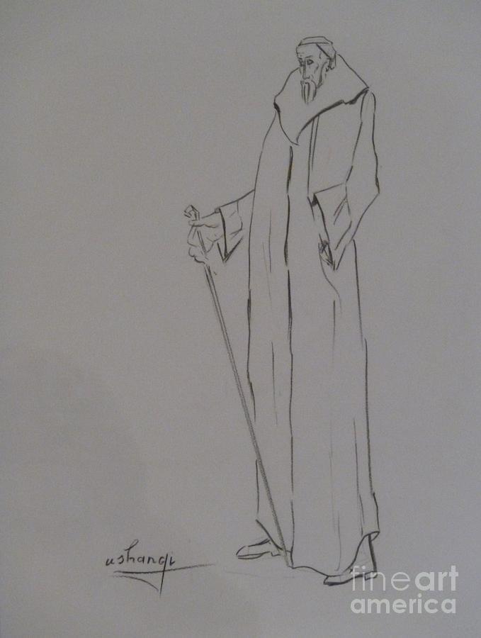 Wisdom Drawing - Aristocrat by Ushangi Kumelashvili