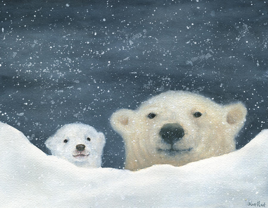 Polar Bear Painting - Aritic Night by June Hunt