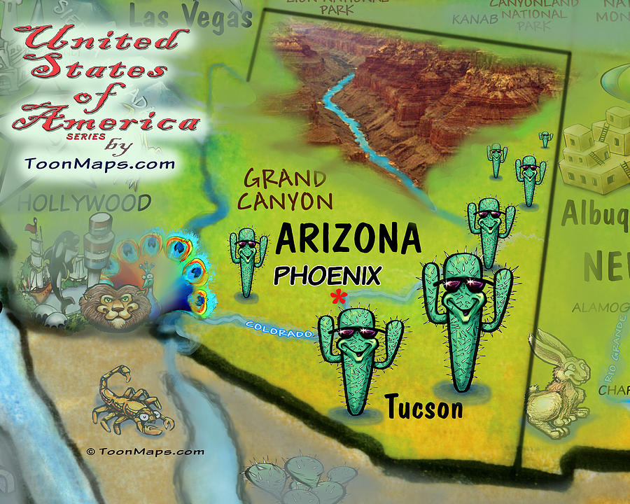 Arizona Fun Map Digital Art
