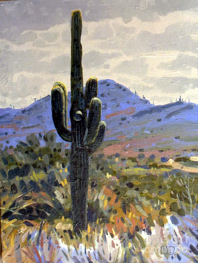 Saguaro Cactus Painting - Arizona Icon by Donald Maier