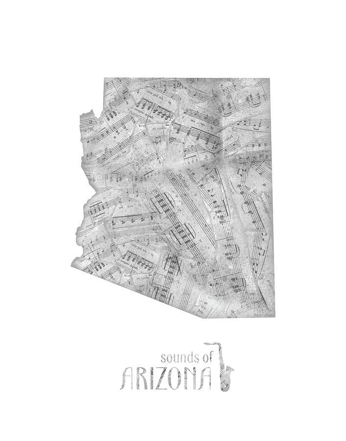 Arizona Map Music Notes Digital Art