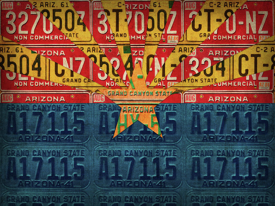 Arizona Mixed Media - Arizona State Flag Vintage License Plate Art by Design Turnpike