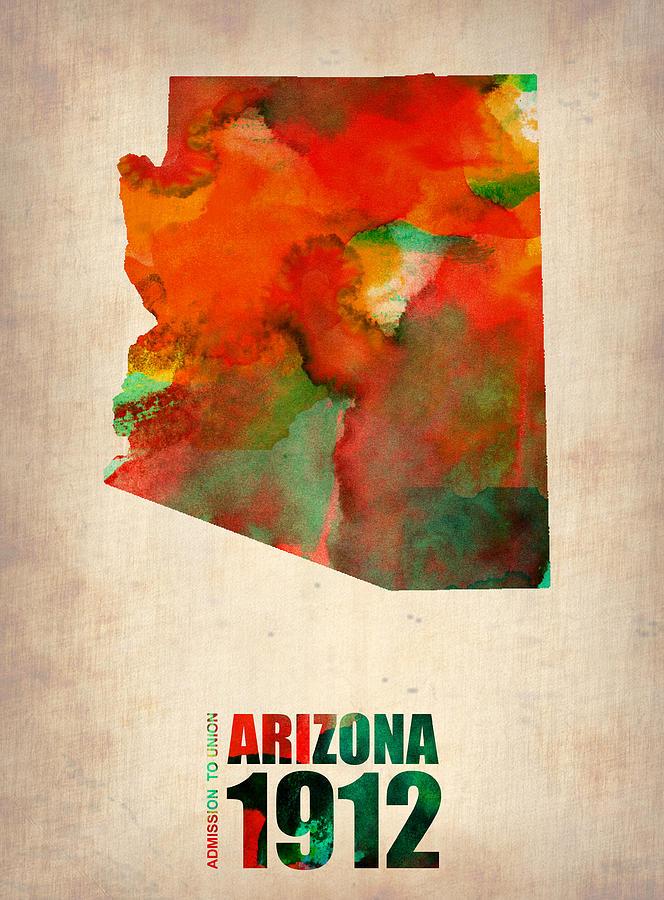 Arizona Digital Art - Arizona Watercolor Map by Naxart Studio