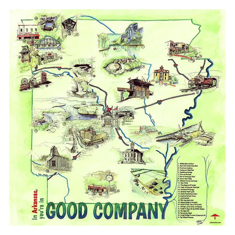 Arkansas Landmark Map by Yang Luo-Branch