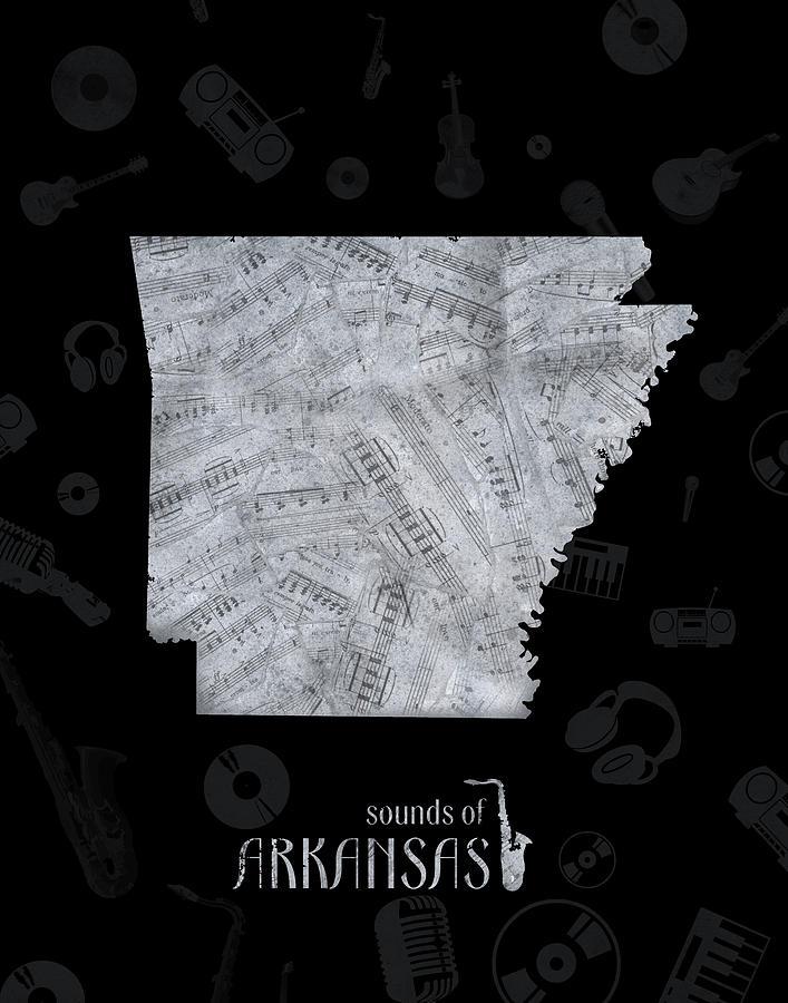 Arkansas Map Music Notes 2 Digital Art