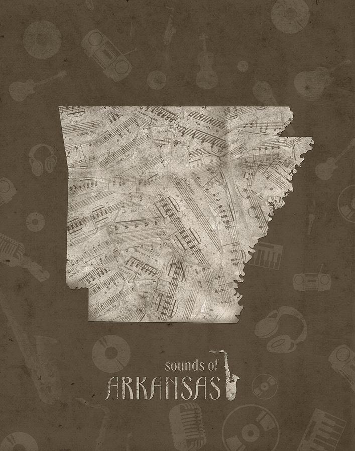 Arkansas Map Music Notes 3 Digital Art