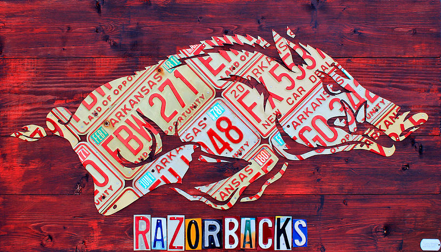 Arkansas Razorbacks Recycled Vintage License Plate Art