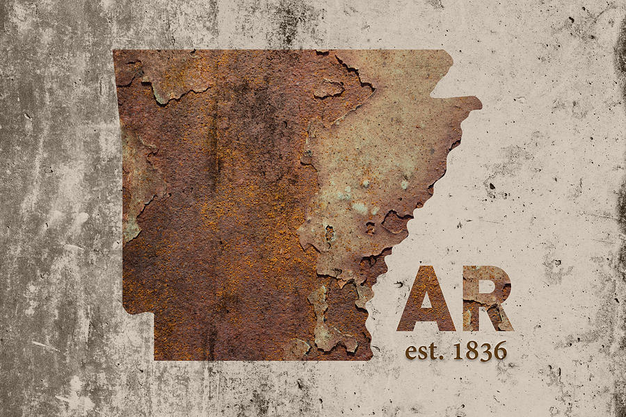Arkansas State Map Industrial Rusted Metal On Cement Wall With Founding on industrial map of italy, industrial map of jamaica, industrial map of ontario canada,