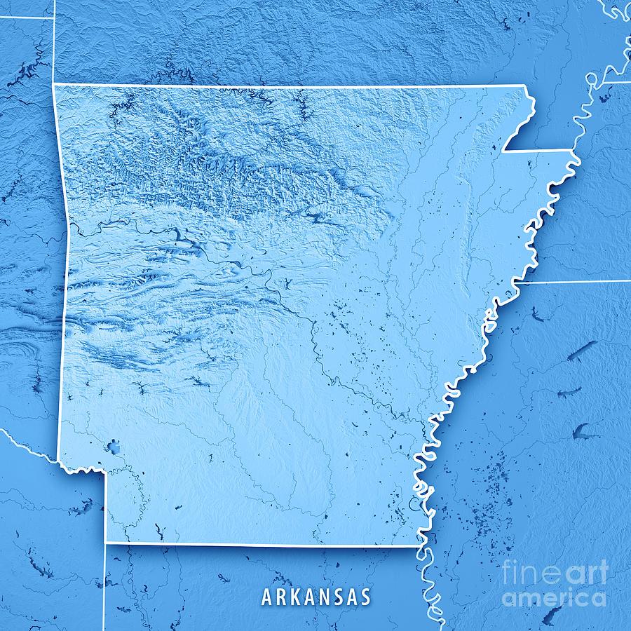 Arkansas State Usa 3d Render Topographic Map Blue Border