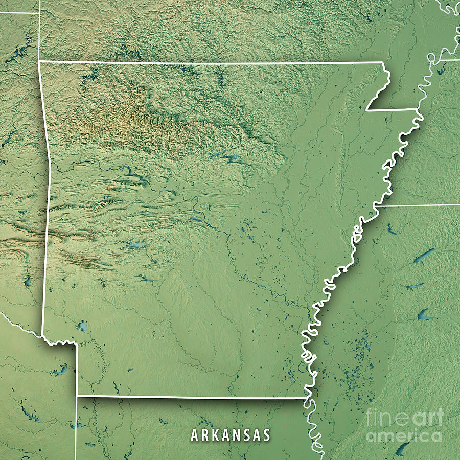 Arkansas State Usa 3d Render Topographic Map Border Digital Art by ...