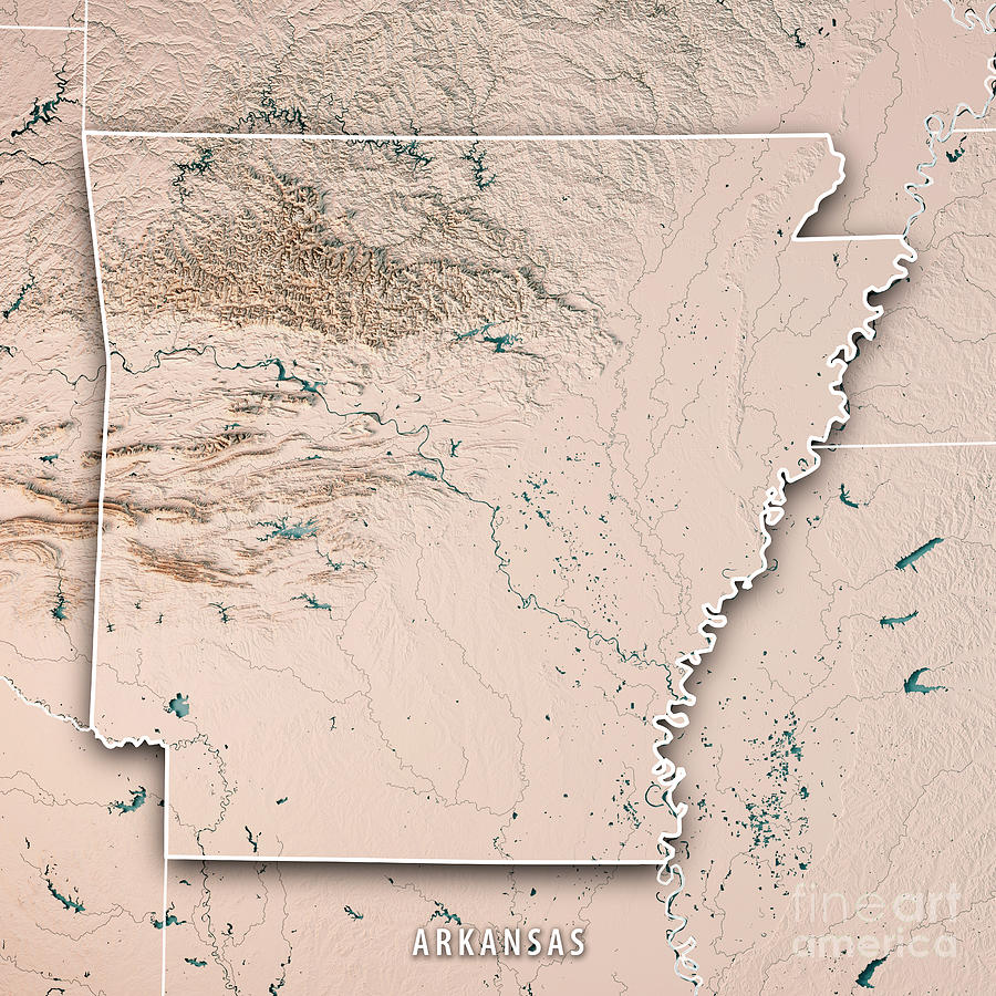 Arkansas State Usa 3d Render Topographic Map Neutral Border
