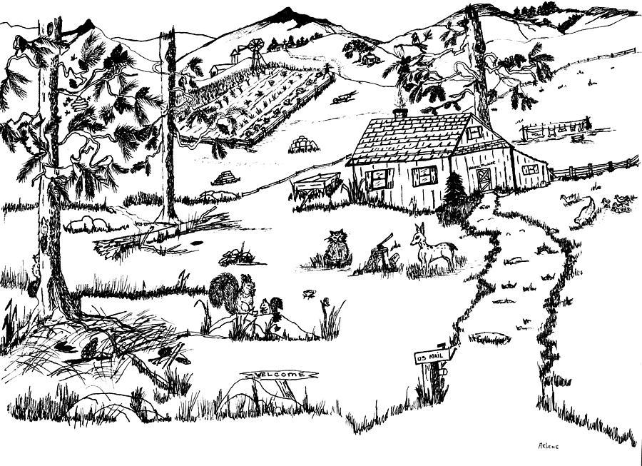 Folk Drawing - Arlennes Idyllic Farm by Daniel Hagerman