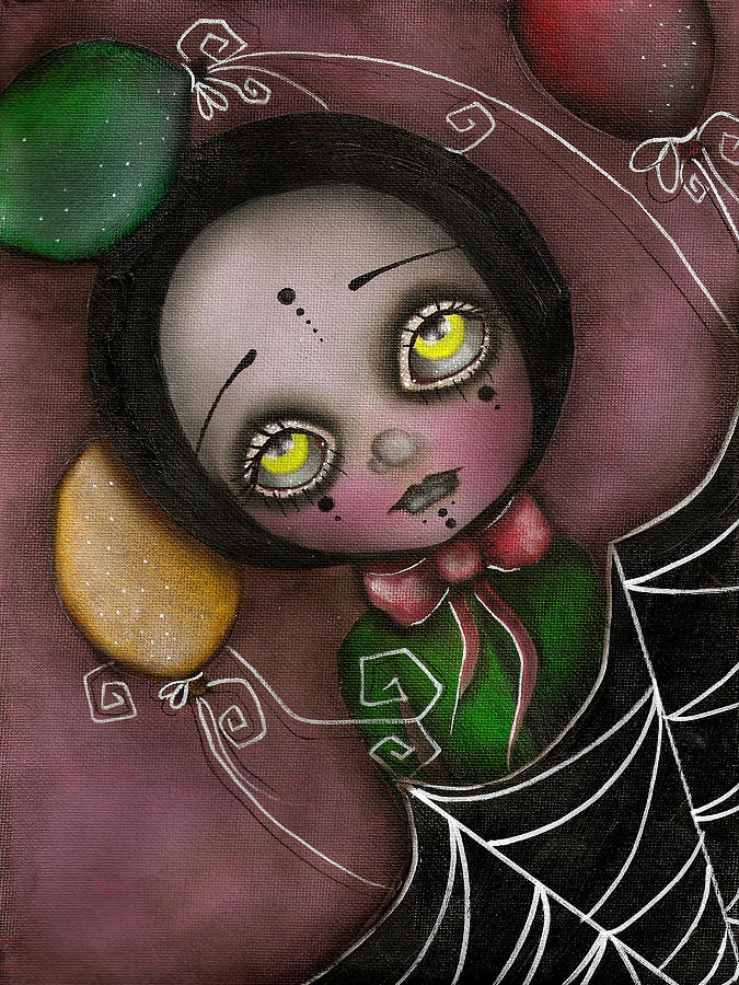 Abril Andrade Griffith Painting - Arlequin Clown Girl by Abril Andrade Griffith