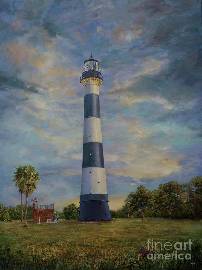 Landmark Painting - Armadillo And Lighthouse by AnnaJo Vahle