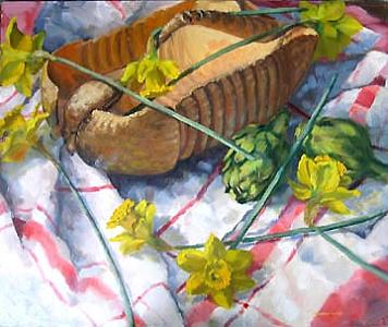Armadillo Basket And Daffodils Painting by Margie Guyot