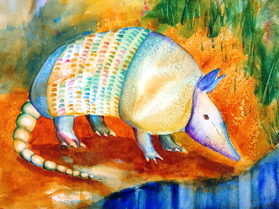 Armadillo Watercolor Painting - Armadillo Reflections by Carlin Blahnik