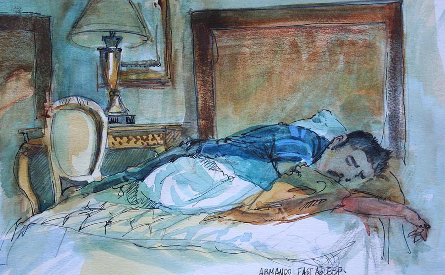 Portrait Drawing - Armando Fast Asleep In Las Vegas by Jose De Juan