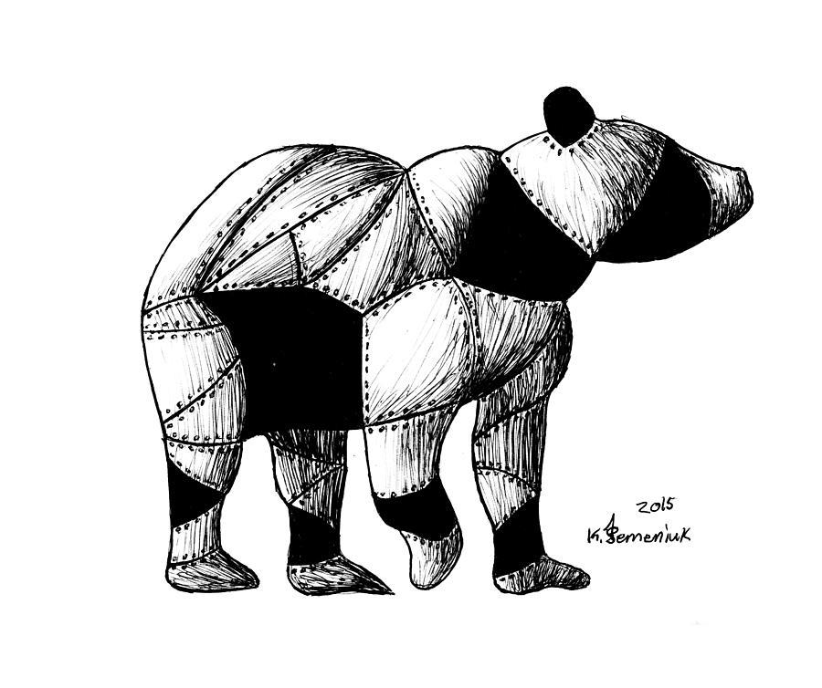Doodle Drawing - Armored Bear by Kayleigh Semeniuk