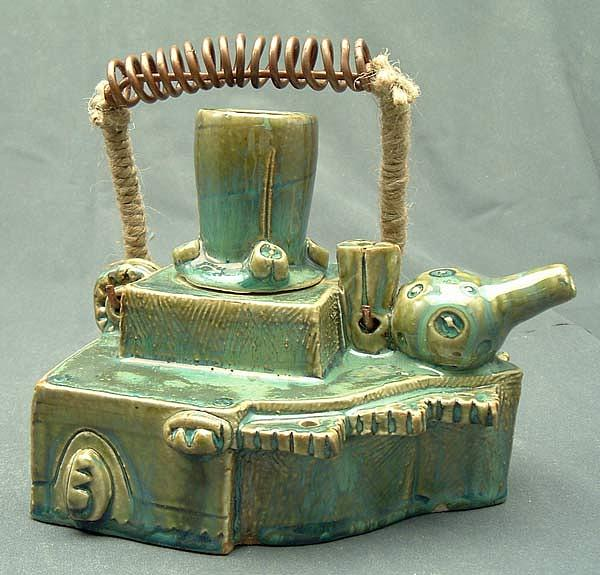 Clay Sculpture - Armoured Teapot  by Donald Burroughs