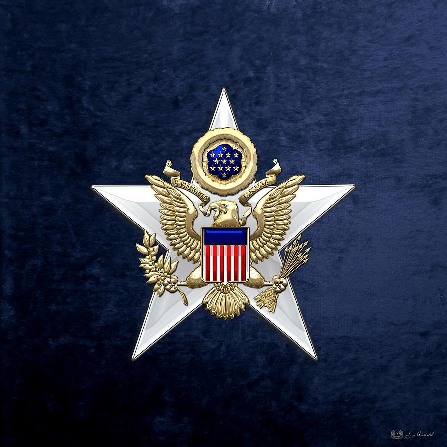 Military Digital Art - Army Staff Branch Insignia On Blue Velvet by Serge Averbukh