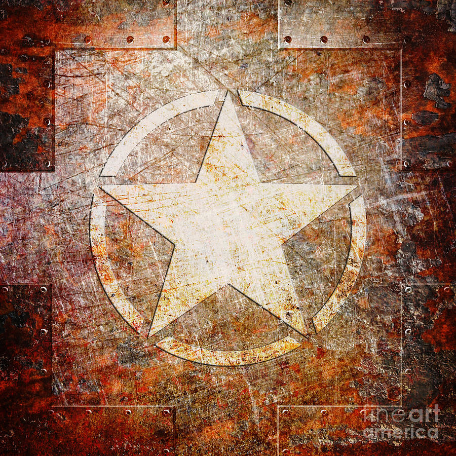 Army Star on Rust by Fred Ber