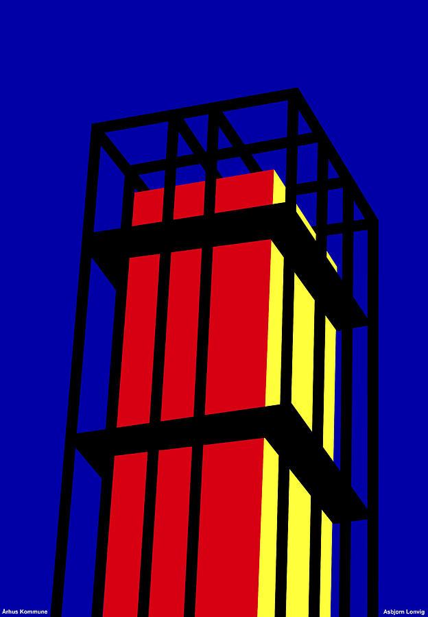 Aarhus Digital Art - Arne Jacobseb Tower by Asbjorn Lonvig