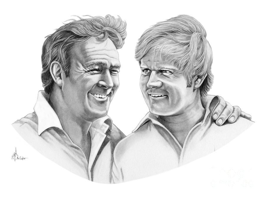Pencil Drawing - Arnold Palmer-jack Nicklaus by Murphy Elliott
