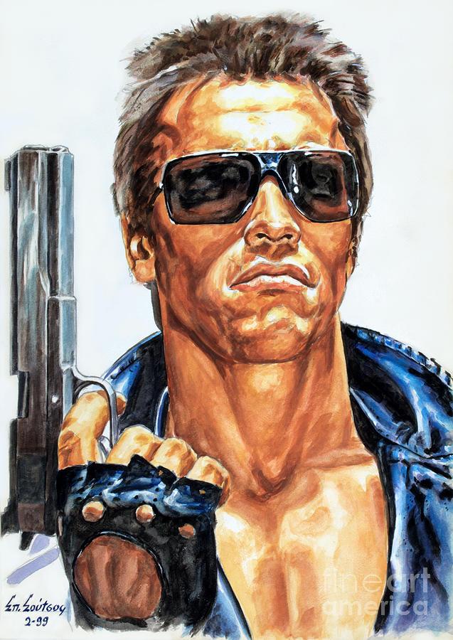Arnold Schwarzenegger Terminator Painting By Spiros Soutsos