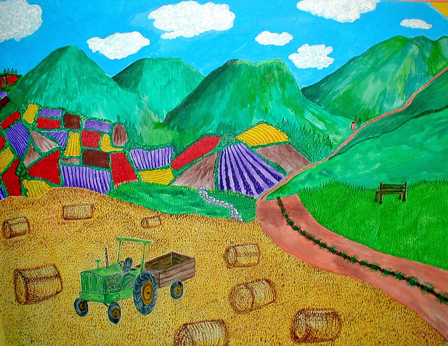 Tractor Painting - Aromatic Harvest by Sandy Wager