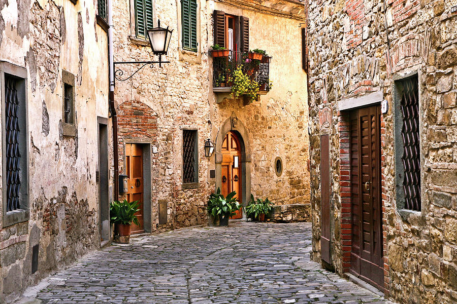 Around the Corner Montefioralle Tuscany Italy by Lilia Maloratskiy