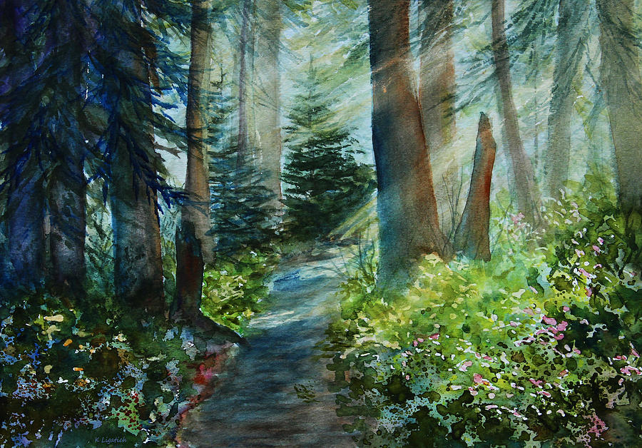Landscape Painting - Around The Path by Kerri Ligatich