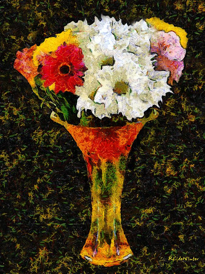 Still Life Painting - Arrangement In Confetti And Black by RC DeWinter