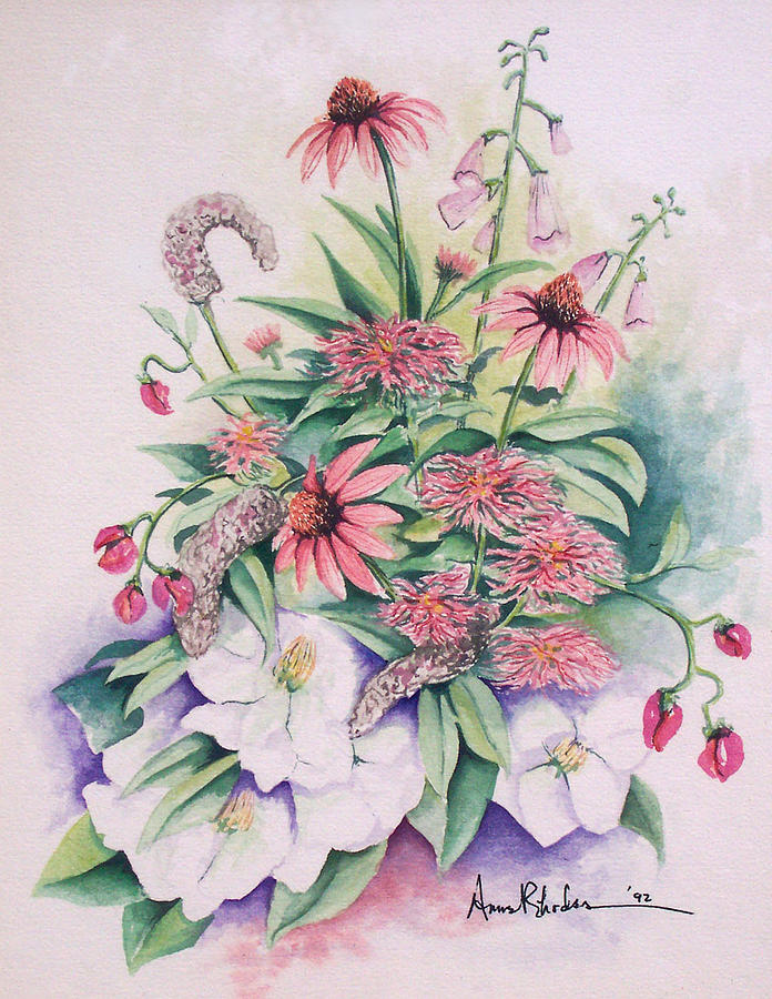 Floral Painting - Arrangement In Pink by Anne Rhodes