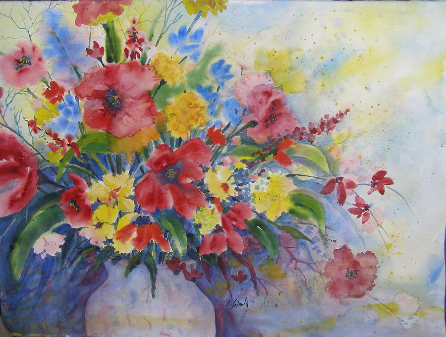 Floral Painting - Arrangement in Red and Yellow by Laurie Salmela