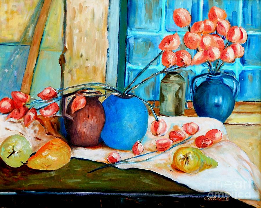 Still Life Painting - Arranging The Flowers by Caroline Street