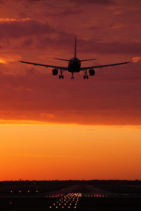 Plane Photograph - Arriving At Days End by Andrew Soundarajan