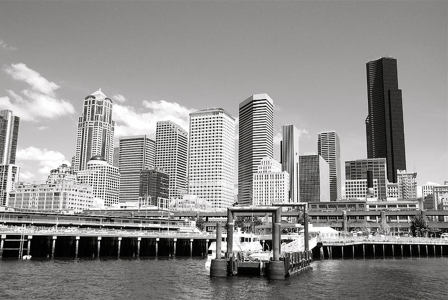 Black & White Photograph - Arriving Downtown Seattle by David Coleman