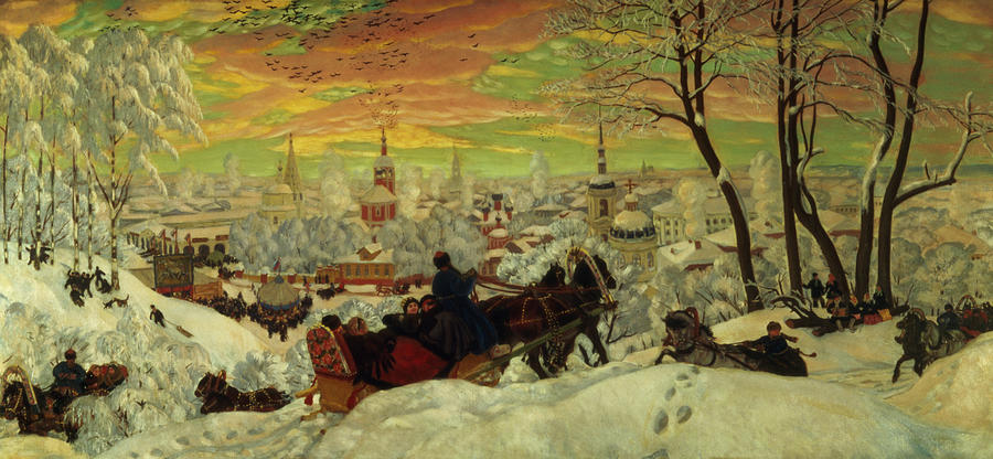 Arriving Painting - Arriving For The Holidays by Boris Mihajlovic Kustodiev