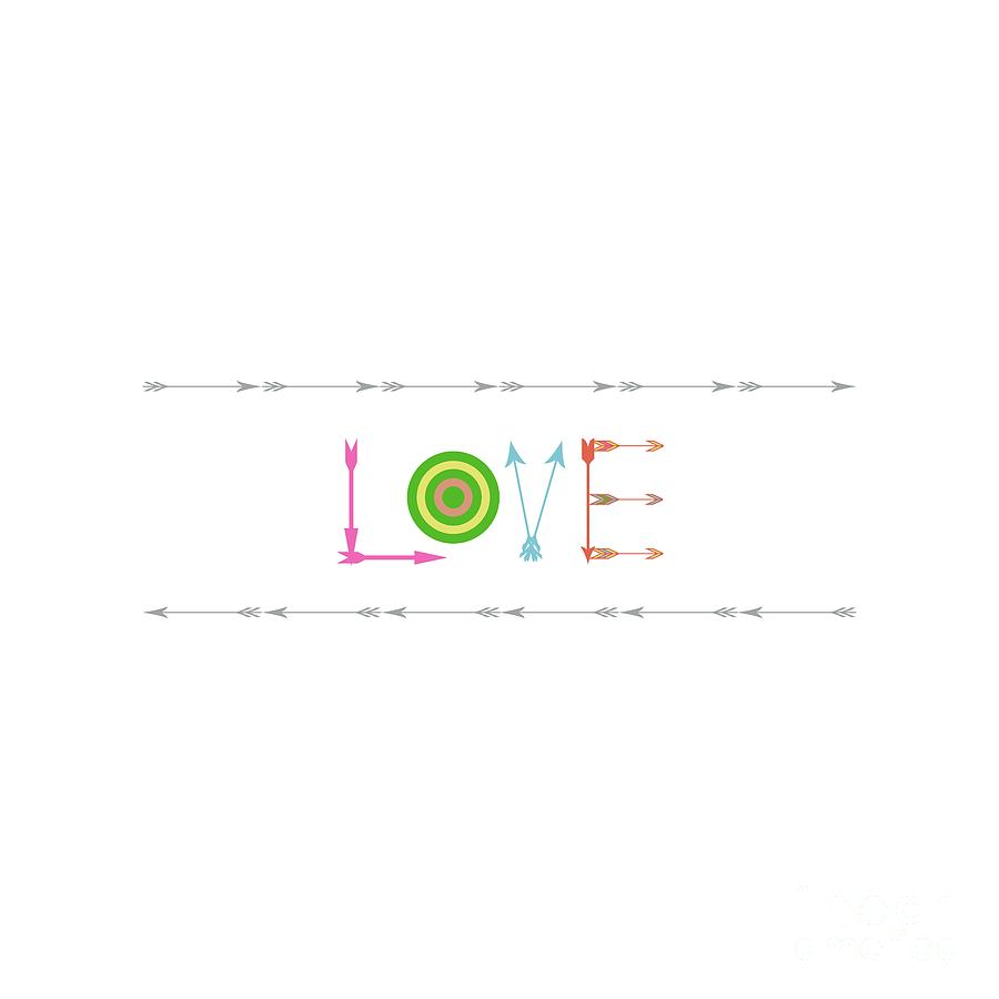 Love Digital Art - Arrow Love - Changeable Background Color by Inspired Arts