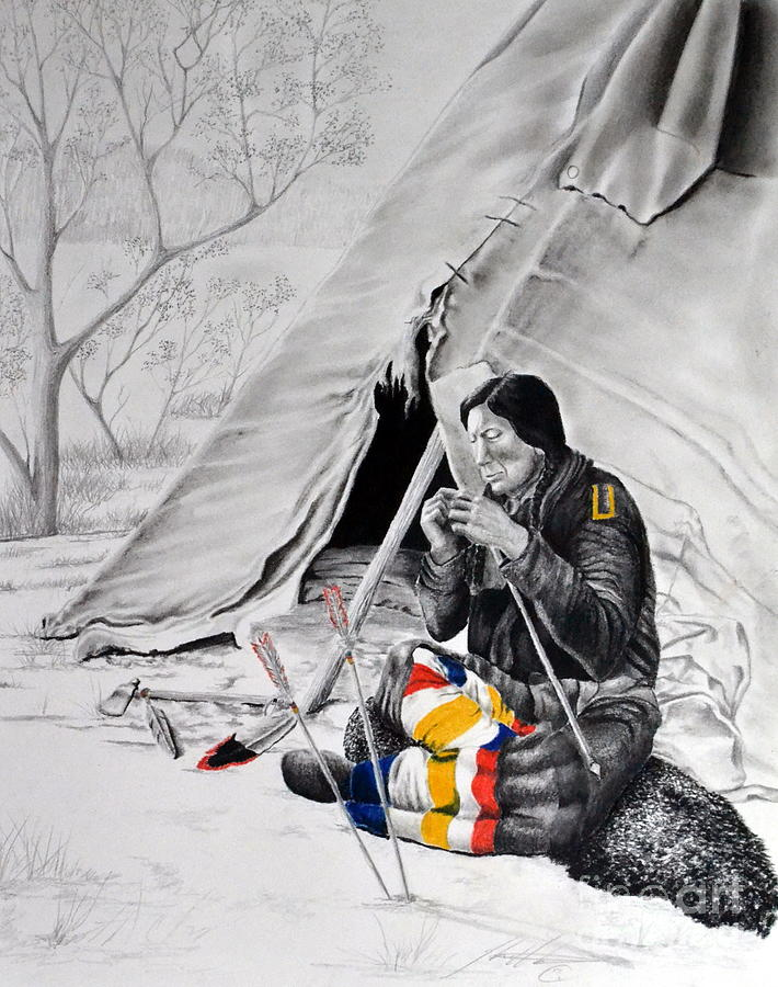 Native America Mixed Media - Arrow Maker by John Huntsman
