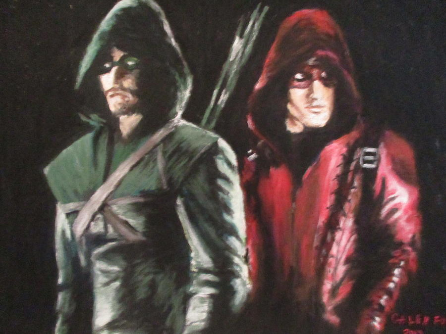 Arrow Painting - Arrow, Stephen Amell And Colton Haynes by Galen Foor