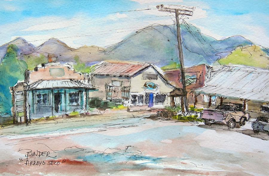 Arroyo Seco Painting - Arroyo Seco, View from the Taos Cow parking lot on the way to the Taos Ski Valley by Diane Binder