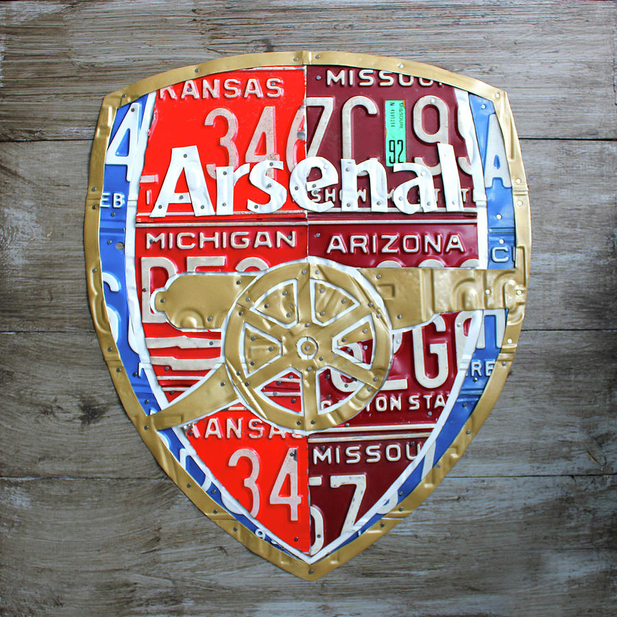 Arsenal Mixed Media - Arsenal Football Team Emblem Recycled Vintage Colorful License Plate Art by Design Turnpike
